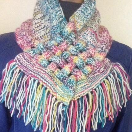 Снуд-шарф с элементами плетения: просто, стильно и необычно